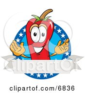 Chili Pepper Mascot Cartoon Character With Stars And A Blank Label