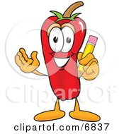 Chili Pepper Mascot Cartoon Character Holding A Pencil
