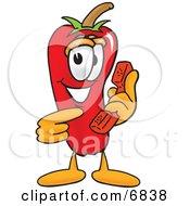 Chili Pepper Mascot Cartoon Character Holding A Telephone