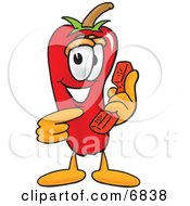 Clipart Picture Of A Chili Pepper Mascot Cartoon Character Holding A Telephone by Toons4Biz
