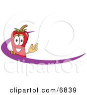 Chili Pepper Mascot Cartoon Character Logo With A Purple Dash