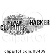 Royalty Free RF Clipart Illustration Of A Hacker Word Collage Version 1