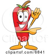 Chili Pepper Mascot Cartoon Character Waving And Pointing