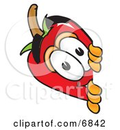 Clipart Picture Of A Chili Pepper Mascot Cartoon Character Peeking Around A Corner