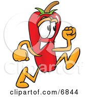 Clipart Picture Of A Chili Pepper Mascot Cartoon Character Running by Toons4Biz #COLLC6844-0015