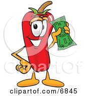 Clipart Picture Of A Chili Pepper Mascot Cartoon Character Holding A Dollar Bill by Toons4Biz