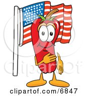 Chili Pepper Mascot Cartoon Character Pledging Allegiance To The American Flag