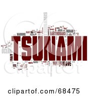 Royalty Free RF Clipart Illustration Of A Tsunami Word Collage Version 3