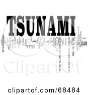 Royalty Free RF Clipart Illustration Of A Tsunami Word Collage Version 1