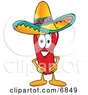 Chili Pepper Mascot Cartoon Character Wearing A Sombrero