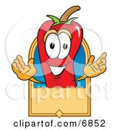 Chili Pepper Mascot Cartoon Character With A Blank Tan Label