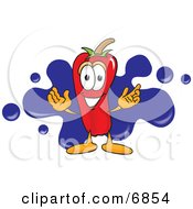 Clipart Picture Of A Chili Pepper Mascot Cartoon Character With A Blue Paint Splatter by Toons4Biz