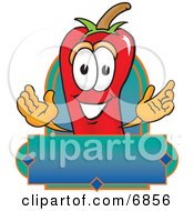 Clipart Picture Of A Chili Pepper Mascot Cartoon Character With A Blank Label