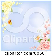 Royalty Free RF Clipart Illustration Of A Blue Background With Corners Of Yellow And Pink Roses With Butterflies by MacX