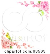 White Background With Corners Of Pink Roses And Butterflies