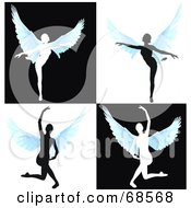 Royalty Free RF Clipart Illustration Of A Digital Collage Of Silhouetted Angels Dancing
