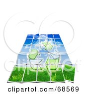 Royalty Free RF Clipart Illustration Of A Pieced Bio Puzzle With Grass And Recycle Arrows
