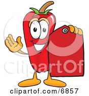Chili Pepper Mascot Cartoon Character Holding A Red Price Tag