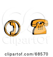 Royalty Free RF Clipart Illustration Of A Digital Collage Of Two Black And Orange 3d Phones