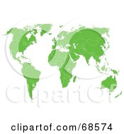 Royalty Free RF Clipart Illustration Of A Green World Map With White Boundaries On A White Background by MacX