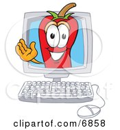 Chili Pepper Mascot Cartoon Character Waving In A Computer Screen