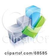 3d Chrome And Blue Bar Graph With A Green Check Mark