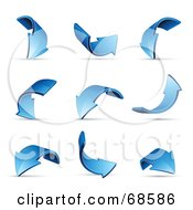 Royalty Free RF Clipart Illustration Of A Digital Collage Of Nine Blue 3d Curved Arrows With Shadows