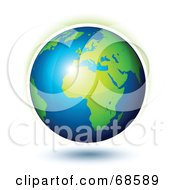 Royalty Free RF Clipart Illustration Of A 3d Shiny Earth With A Faint Aura by beboy