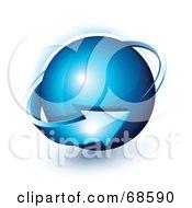 Royalty Free RF Clipart Illustration Of A Blue 3d Arrow Circling A Blue Shiny Globe