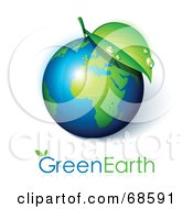 Royalty Free RF Clipart Illustration Of A 3d Leaf On A Shiny Earth With Green Earth Text