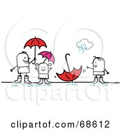 Royalty Free RF Clipart Illustration Of A Stick People Character Family Playing In Puddles