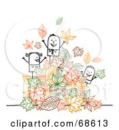 Royalty Free RF Clipart Illustration Of A Stick People Character Family Playing In Autumn Leaves