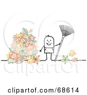 Royalty Free RF Clipart Illustration Of A Stick People Character Man Raking Up Leaves In His Yard