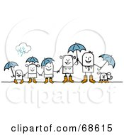 Stick People Character Family With Umbrellas On A Rainy Day by NL shop