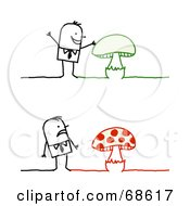 Stick People Character Man Shown Looking At Green And Red Mushrooms