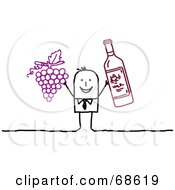Royalty Free RF Clipart Illustration Of A Stick People Character Man Holding Up Grapes And Wine by NL shop