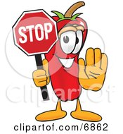 Clipart Picture Of A Chili Pepper Mascot Cartoon Character Holding A Stop Sign by Toons4Biz