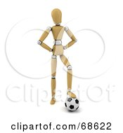 Royalty Free RF Clipart Illustration Of A 3d Wood Mannequin Resting His Foot On A Soccer Ball by stockillustrations