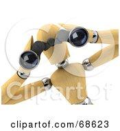 3d Wood Mannequin Spying Through Binoculars