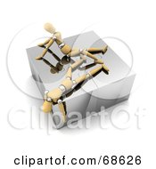 Royalty Free RF Clipart Illustration Of Two Exhausted 3d Wood Mannequins On Top Of A Complete Puzzle by stockillustrations