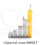 Royalty Free RF Clipart Illustration Of A 3d Wood Mannequin Standing On A Bar Graph People Failing Below by stockillustrations #COLLC68627-0101
