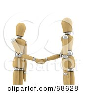 Royalty Free RF Clipart Illustration Of 3d Wood Mannequins Shaking Hands by stockillustrations