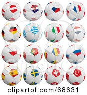 Royalty Free RF Clipart Illustration Of A Digital Collage Of 3d European Soccer Ball by stockillustrations