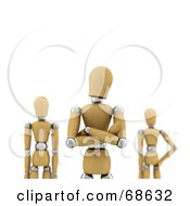 Royalty Free RF Clipart Illustration Of A 3d Wood Mannequin Leader With Team Mates by stockillustrations