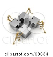 Royalty Free RF Clipart Illustration Of A Team Of Four 3d Wood Mannequins Assembling A Big Puzzle by stockillustrations