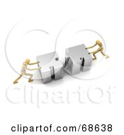 Royalty Free RF Clipart Illustration Of Two 3d Wood Mannequins Linking Puzzle Pieces Version 1