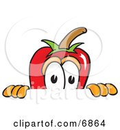 Chili Pepper Mascot Cartoon Character Scared Peeking Over A Surface
