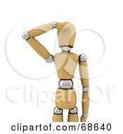 Royalty Free RF Clipart Illustration Of A 3d Wood Mannequin Looking And Shielding His Face by stockillustrations