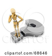 Royalty Free RF Clipart Illustration Of A Confused 3d Wood Mannequin Standing On A Question Mark by stockillustrations #COLLC68646-0101