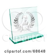 Royalty Free RF Clipart Illustration Of A Silver Transparent Glass Second Place Laurel Trophy